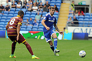 Cardiff City's Joe Ralls (r) passes past QPR's Jordan Cousins. EFL Skybet championship match, Cardiff city v Queens Park Rangers at the Cardiff city stadium in Cardiff, South Wales on Sunday 14th August 2016.<br /> pic by Carl Robertson, Andrew Orchard sports photography.
