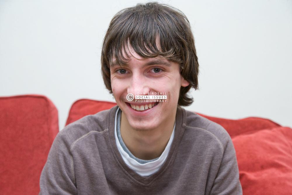 Portrait of a teenage boy smiling,