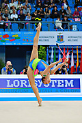 Kvieczynski Angelica during qualifying at clubs in Pesaro World Cup at Adriatic Arena on 11 April 2015. Angelica is a Brazilian individual rhythmic gymnast born September 1, 1991 in Toledo, Brazil.