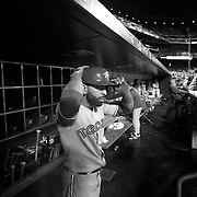 Jose Bautista, Toronto Blue Jays, in the dugout preparing to bat during the New York Mets Vs Toronto Blue Jays MLB regular season baseball game at Citi Field, Queens, New York. USA. 16th June 2015. Photo Tim Clayton