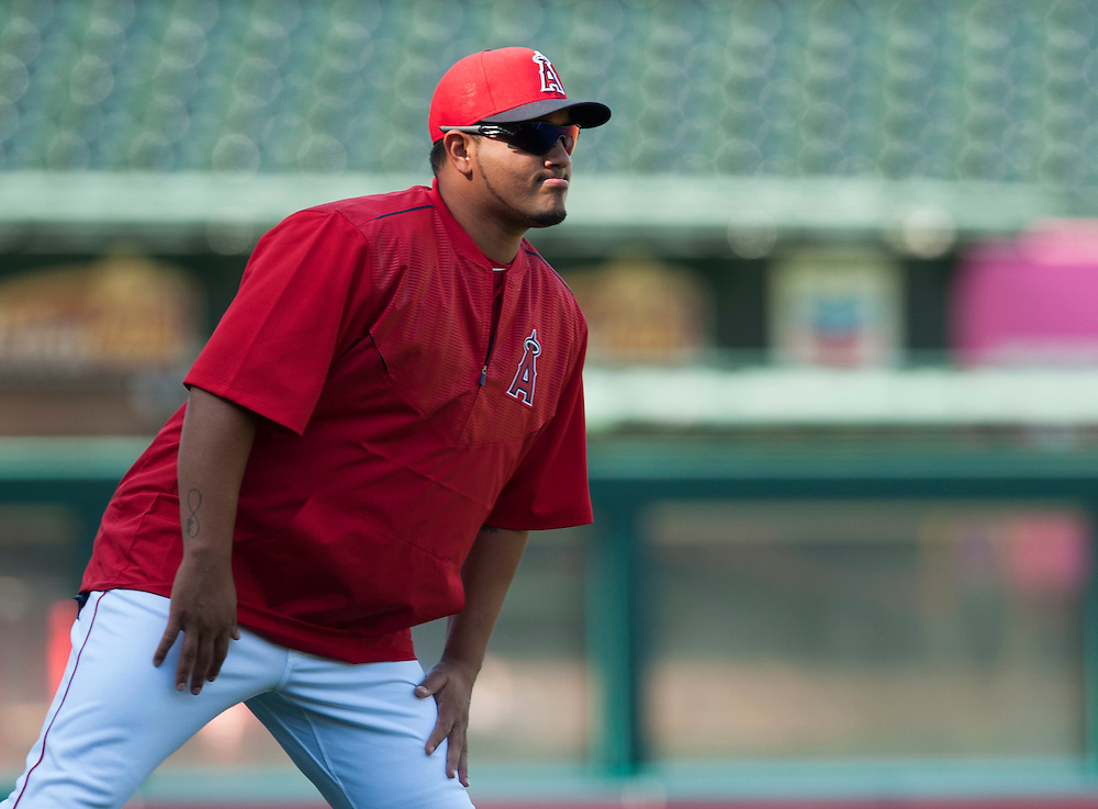 New Angels starting pitcher Jhoulys Chacin warms up before their game against the St. Louis Cardinals Thursday at Angel Stadium.<br /> <br /> ADDITIONAL INFO:   <br /> <br /> angels.0405.kjs  ---  Photo by KEVIN SULLIVAN / Orange County Register  -- 5/12/16<br /> <br /> The Los Angeles Angels take on the St. Louis Cardinals Thursday at Angel Stadium.