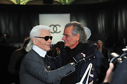 Karl Lagerfeld and Patrick de Marchelier posing at the Chanel Ready-To-Wear Fall-Winter 2011-2012 fashion show designed by Karl Lagerfeld at the Grand Palais in Paris, France on March 8, 2011, as part of the Paris Fashion Week. Photo by Frederic Nebinger/ABACAPRESS.COM