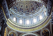 Cupola dome interior Basilica cathedral church of Saint Peter, Vatican city, Rome, Italy, 1974