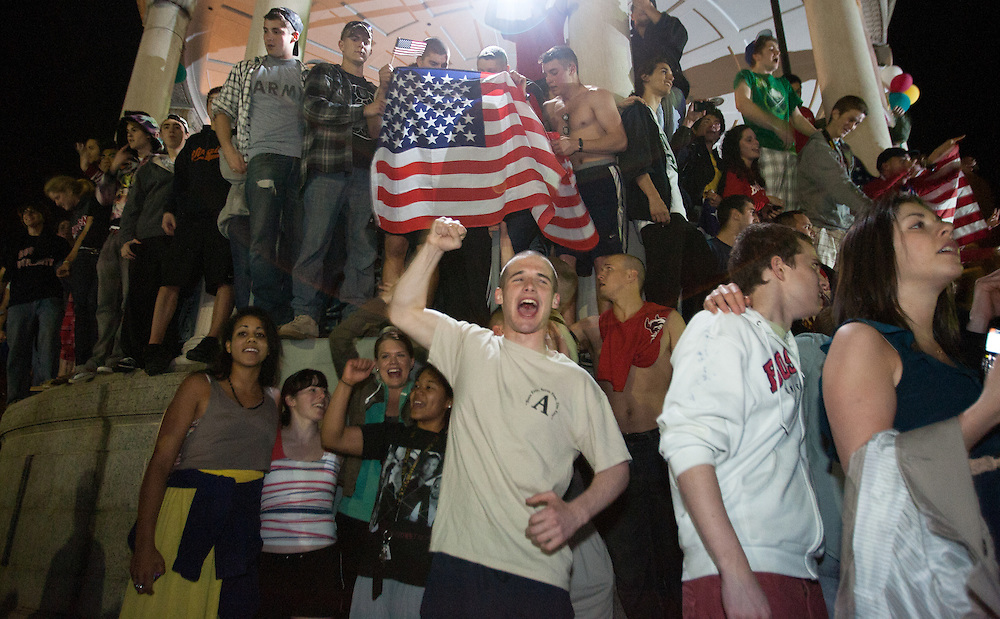 Boston, MA 05/02/2011<br /> Boston University ROTC cadet Connor Maher joins a large crowd celebrating in the middle of Boston Common after President Obama announced the death of Osama bin Laden late Sunday night.