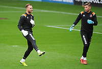 Blackpool's Jak Alnwick (left) and Jack Sims during the pre-match warm-up<br /> <br /> Photographer Kevin Barnes/CameraSport<br /> <br /> The EFL Sky Bet Championship - Blackpool v Peterborough United - Saturday 2nd November 2019 - Bloomfield Road - Blackpool<br /> <br /> World Copyright © 2019 CameraSport. All rights reserved. 43 Linden Ave. Countesthorpe. Leicester. England. LE8 5PG - Tel: +44 (0) 116 277 4147 - admin@camerasport.com - www.camerasport.com