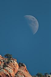 Moon Over Zion National Park, Springdale, Utah