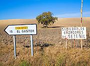 Rural road sign to El Gastor, Cadiz province, Spain