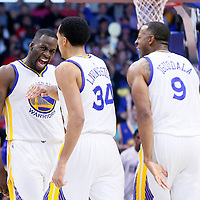 20 February 2016: Golden State Warriors forward Draymond Green (23) is congratulated by Golden State Warriors guard Shaun Livingston (34) and Golden State Warriors forward Andre Iguodala (9) during the Golden State Warriors 115-112 victory over the Los Angeles Clippers, at the Staples Center, Los Angeles, California, USA.