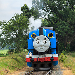 Strasburg, PA, USA, June 17, 2012: Thomas the Tank Engine rolls on the tracks to Strasburg, PA.