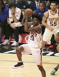 October 21, 2017 - Los Angeles, California, U.S - Josh Jackson #20 of the Phoenix Suns passes the ball during their regular season game against the Los Angeles Clippers on Saturday October 21, 2017 at the Staples Center in Los Angeles, California. Clippers defeat Suns, 130-88. (Credit Image: © Prensa Internacional via ZUMA Wire)