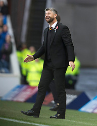 Motherwell's manager Stephen Robinson during the Ladbrokes Scottish Premiership match at Ibrox Stadium, Glasgow. PRESS ASSOCIATION Photo. Picture date: Sunday November 11, 2018. See PA story SOCCER Rangers'. Photo credit should read: Jeff Holmes/PA Wire. EDITORIAL USE ONLY