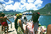 Lei greeters, Hakahau, Ua Pou, French Polynesia, (editorial use only, not model released)<br />