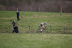 Ellen van Dijk (Sunweb) has a small lead solo on the final climb of VAMberg at Ronde van Drenthe 2017. A 152 km road race on March 11th 2017, starting and finishing in Hoogeveen, Netherlands. (Photo by Sean Robinson/Velofocus)