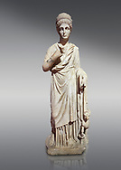 Roman statue of Nemesisgoddess of  retribution. Marble. Perge. 2nd century AD. Inv no 28.23.79. Antalya Archaeology Museum; Turkey. .<br /> <br /> If you prefer to buy from our ALAMY STOCK LIBRARY page at https://www.alamy.com/portfolio/paul-williams-funkystock/greco-roman-sculptures.html . Type -    Antalya     - into LOWER SEARCH WITHIN GALLERY box - Refine search by adding a subject, place, background colour, museum etc.<br /> <br /> Visit our ROMAN WORLD PHOTO COLLECTIONS for more photos to download or buy as wall art prints https://funkystock.photoshelter.com/gallery-collection/The-Romans-Art-Artefacts-Antiquities-Historic-Sites-Pictures-Images/C0000r2uLJJo9_s0