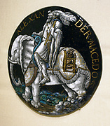 Medallion: Julius Caesar.  Enamel, partly gilded, on copper.  Attributed to the workshop of Colin Nouailher (act. 1539 d. after 1571) Limoges, about 1541 or later.
