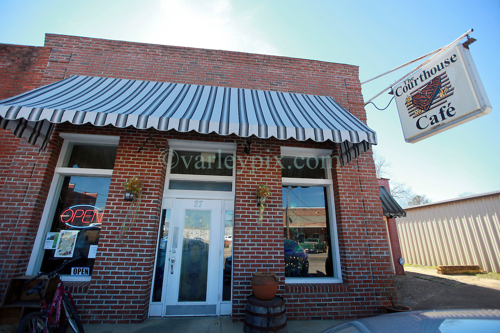 06 February 2015. Monroeville, Alabama.<br /> On the trail of Harper Lee's 'To Kill a Mocking Bird.'<br /> The Courthouse Cafe in the old historic downtown area of Monroeville. <br /> Photo; Charlie Varley/varleypix.com