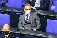 11 FEB 2021, BERLIN/GERMANY:<br /> Heiko Maas, MdB, SPD, Bundesaussenminister, mit Maske, Debatte nach der  Regierungserklaerung der Bundeskanzlerin zur Bewaeltigung der Corvid-19-Pandemie, Plenum, Reichstagsgebaeude, Deutscher Bundestag<br /> IMAGE: 20210211-01-072<br /> KEYWORDS: Corona, MAske, Mundschutz