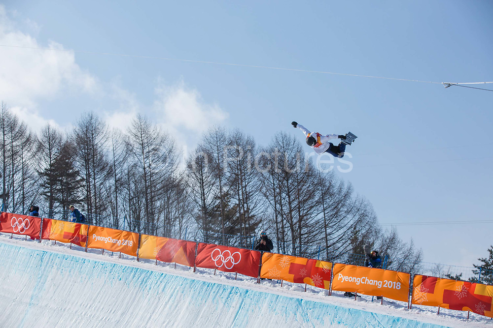Taku Hiraoka, Japan, during the mens halfpipe qualifications at the Pyeongchang Winter Olympics on 13th February 2018 at Phoenix Snow Park in South Korea.