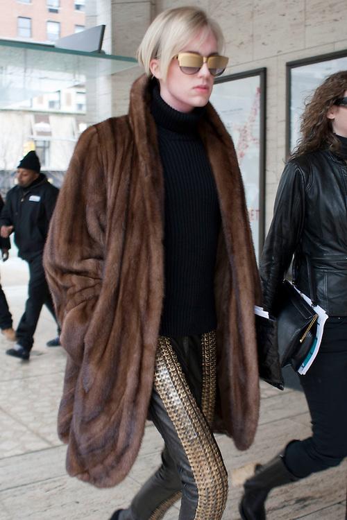 Transgender model Andrej Pejic arrives during day three at AW 2012 New York Fashion Week, NY, USA. February 11, 2012.