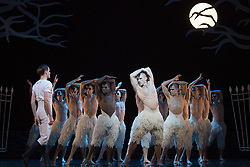 © Licensed to London News Pictures. 05/12/2013. London, England. With Jonathan Ollivier as The Swan. Matthew Bourne's Swan Lake is performed at Sadler's Wells Theatre from 4 December 2013 to 26 January 2014. Photo credit: Bettina Strenske/LNP