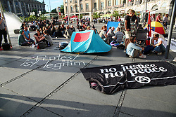 July 3, 2017 - Munich, Bavaria, Germany - After a protest camp against G20 in Hamburg was evicted aggressively by police yesterday, activists gathered in Munich to show their solidarity with the activists in Hamburg and to protest for the right to protest. (Credit Image: © Alexander Pohl/Pacific Press via ZUMA Wire)