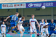 Gillingham FC midfielder Mark Byrne (33) scores a goal (1-1) during the EFL Sky Bet League 1 match between Gillingham and Rochdale at the MEMS Priestfield Stadium, Gillingham, England on 30 March 2019.