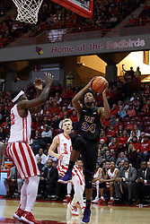 17 February 2018:  Isaiah Brown takes it to the hoop guarded by Milik Yarbrough during a College mens basketball game between the University of Northern Iowa Panthers and Illinois State Redbirds in Redbird Arena, Normal IL