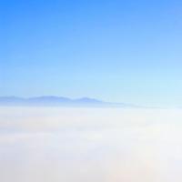 North America, Mexico, Baja California, Ensenada.  A foggy view of the coastline from MX-1.