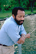 African American educator age 58 from Mali Africa on fishing vacation.  Clitherall  Minnesota USA