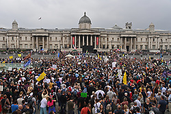 © Licensed to London News Pictures. 24/07/2021. London, UK. Anti lockdown and anti Covid vaccination protesters take part in rally in Trafalgar Square as part the the World Wide Rally for Freedom. Photo credit: Ray Tang/LNP