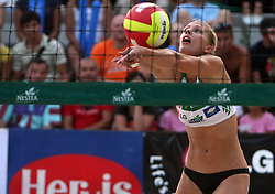Katarina Juhart (Aklimat Team) at qualifications for 14th National Championship of Slovenia in Beach Volleyball and also 4th tournament of series TUSMOBIL LG presented by Nestea, on July 25, 2008, in Kranj, Slovenija. (Photo by Vid Ponikvar / Sportal Images)/ Sportida)