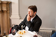 MATT WILLIAMS, Pablo Bronstein, Sketches for Regency Living. Discussion and lunch. ICA. The Mall. London. 7 June 2011. <br /> <br />  , -DO NOT ARCHIVE-© Copyright Photograph by Dafydd Jones. 248 Clapham Rd. London SW9 0PZ. Tel 0207 820 0771. www.dafjones.com.