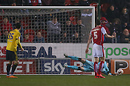 Another fine save from Rotherham United goalkeeper Lee Camp (1)  during the Sky Bet Championship match between Rotherham United and Middlesbrough at the New York Stadium, Rotherham, England on 8 March 2016. Photo by Simon Davies.