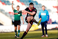 Halifax RLFC centre Stephen Tyrer (3) scores the  conversion during the Betfred Championship match between Rochdale Hornets and Halifax RLFC at Spotland, Rochdale, England on 25 February 2018. Picture by Simon Davies.