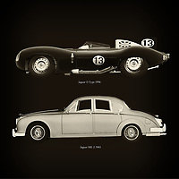 For the lover of old classic cars, this combination of a Jaguar D Type 1956 and Jaguar MK-2 1963 is truly a beautiful work to have in your home.<br /> The classic Jaguar D Typ and the beautiful Jaguar MK-2 are among the most beautiful cars ever built.<br /> You can have this work printed in various materials and without loss of quality in all formats.<br /> For the oldtimer enthusiast, the series by the artist Jan Keteleer is a dream come true. The artist has made a fine selection of the very finest cars which he has meticulously painted down to the smallest detail. – –<br /> -<br /> <br /> BUY THIS PRINT AT<br /> <br /> FINE ART AMERICA<br /> ENGLISH<br /> https://janke.pixels.com/featured/jaguar-d-type-1956-and-jaguar-mk-2-1963-jan-keteleer.html<br /> <br /> WADM / OH MY PRINTS<br /> DUTCH / FRENCH / GERMAN<br /> https://www.werkaandemuur.nl/nl/werk/Jaguar-D-Type-1956-en-Jaguar-MK-2-1963/757754/93?mediumId=1&size=60x60<br /> –