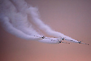 Israeli Air force (IAF) Fouga Magister CM-170 in aerobatics display at sunset