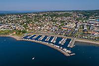 Flyfoto fra Moss med fokus på Fiske båthavn.