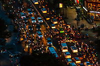 Overviews of traffic in Ho Chi Minh CIty (Saigon), Vietnam. There are over four million motorbikes in the city.