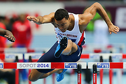08.03.2014, Ergo Arena, Sopot, POL, IAAF, Leichtathletik Indoor WM, Sopot 2014, im Bild 60 m plotki, hurdles, William Sharman (GBR) // 60 m plotki, hurdles, William Sharman (GBR)  during day two of IAAF World Indoor Championships Sopot 2014 at the Ergo Arena in Sopot, Poland on 2014/03/08. EXPA Pictures © 2014, PhotoCredit: EXPA/ Newspix/ Tomasz Jastrzebowski<br /> <br /> *****ATTENTION - for AUT, SLO, CRO, SRB, BIH, MAZ, TUR, SUI, SWE only*****