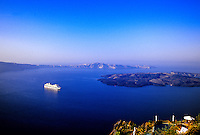"Celebrity Cruises ""Millennium"" off the island of Santorini, the Cyclades, Greece"