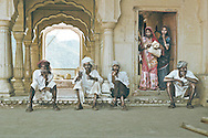 Laborers on a break from work, Amer Fort in Jaipur, Rajasthan, India.