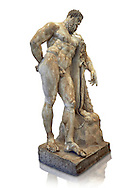 End of 2nd century beginning of 3rd century AD Roman marble sculpture of Hercules at rest copied from the second half of the 4th century BC Hellanistic Greek original,  inv 6001, Farnese Collection, Museum of Archaeology, Italy, white background ..<br /> <br /> If you prefer to buy from our ALAMY STOCK LIBRARY page at https://www.alamy.com/portfolio/paul-williams-funkystock/greco-roman-sculptures.html . Type -    Naples    - into LOWER SEARCH WITHIN GALLERY box - Refine search by adding a subject, place, background colour, etc.<br /> <br /> Visit our ROMAN WORLD PHOTO COLLECTIONS for more photos to download or buy as wall art prints https://funkystock.photoshelter.com/gallery-collection/The-Romans-Art-Artefacts-Antiquities-Historic-Sites-Pictures-Images/C0000r2uLJJo9_s0