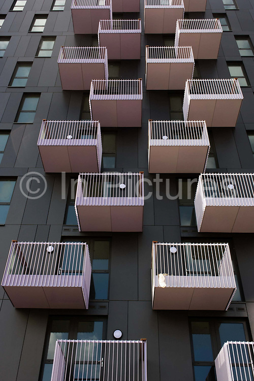 New apartment balconies in recently completed housing in Stratford, a short distance from the 2012 Olympic Park. Developers are building 4m sq ft of offices and 350 homes. Inter Ikea, proposed 1,200 homes and up to 500,000 sq ft of commercial space at a 26-acre site just 500 metres south of the Olympic Park. Houses close to the Olympic Park in Stratford have increased in value by £800 a month meaning average house prices have increased by £60,000, or 30pc. Also, short-term rentals in London in July 2012 is £2,858 per week, an increase of 444pc one year before the Games.