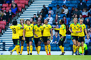 Khadija Shaw (#11) of Jamaica celebrates Jamaica's second goal (2-2) with Jamaica team mates during the International Friendly match between Scotland Women and Jamaica Women at Hampden Park, Glasgow, United Kingdom on 28 May 2019.