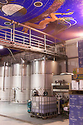 stainless steel tanks decorated ceiling Bodegas Vinas Zamoranas, DO Tierra del Vino de Zamora , Coreses spain castile and leon