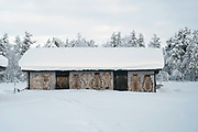 Reindeer skins stretched out to dry on a barn wall on 19th February 2020 on the edge of Pallas-Yllastunturi National Park in Finnish Lapland. Reindeer and reindeer husbandry play an important role in the National Park, with the area used for grazing and breeding.