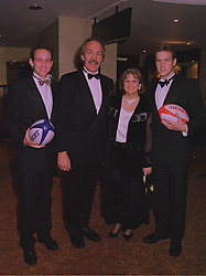 Left to right, MR SIMON UTTLEY, his parents MR & MRS ROGER UTTLEY, he is President of SPARKS and manager of the English Rugby Union team and MR BEN UTTLEY at a ball in London on 17th December 1997.MEG 2