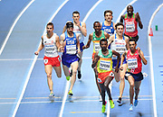 Samuel Tefera (ETH) and Abdelaati Iguider (MAR) lead the field in the Men's 1500m Final during the final session of the IAAF World Indoor Championships at Arena Birmingham in Birmingham, United Kingdom on Saturday, Mar 2, 2018. (Steve Flynn/Image of Sport)