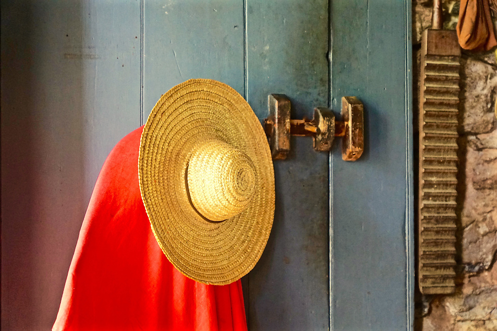 Still life, door and straw hat, Colonial Plantation, Ridley Creek State Park, Delaware County, PA