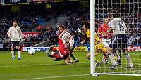 Fotball<br /> Photo. Jed Wee, Digitalsport<br /> NORWAY ONLY<br /> <br /> England v Japan, The FA Summer Tournament, 01/06/2004.<br /> England's Wayne Rooney miskicks from six yards out with the goal at his mercy.